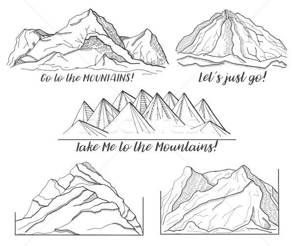 Ingesteld verschillend foto's bergen schets stijl Stockfoto © Arkadivna