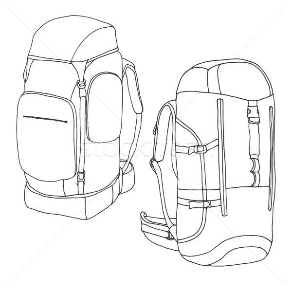 8726600 Tourist backpacks isolated on white background. Hand drawn vector  illustration of a sketch style. by Arkadivna Stock photo 391f83c02f61b