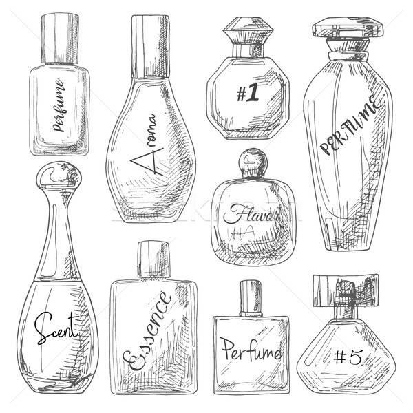 Establecer diferente botellas perfume boceto estilo Foto stock © Arkadivna