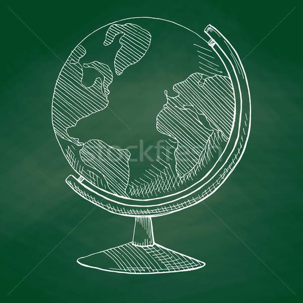 Dünya yeşil okul tahta kroki Stok fotoğraf © Arkadivna