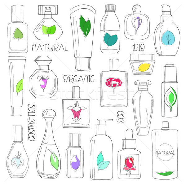 Set of cosmetics. Natural, eco, bio cosmetics isolated on white background.Vector illustration of a  Stock photo © Arkadivna