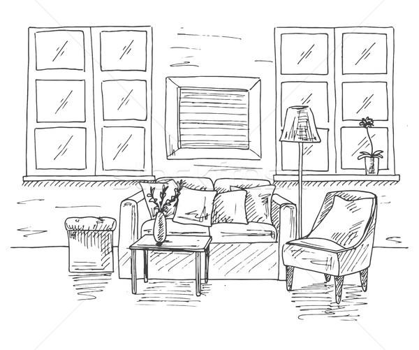 Modern iç oda kanepe tablo koltuk Stok fotoğraf © Arkadivna
