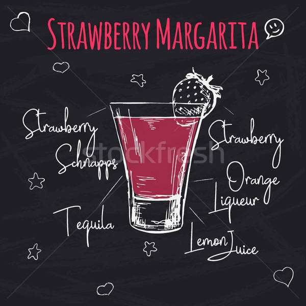 Simple recipe for an alcoholic cocktail Strawberry Margarita. Drawing chalk on a blackboard. Vector  Stock photo © Arkadivna