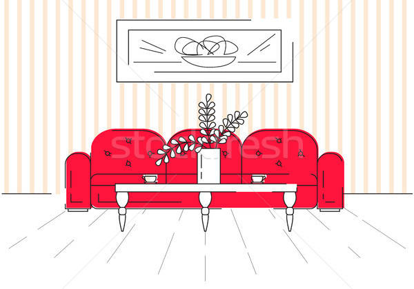Stockfoto: Lineair · schets · interieur · sofa · tabel · kamer