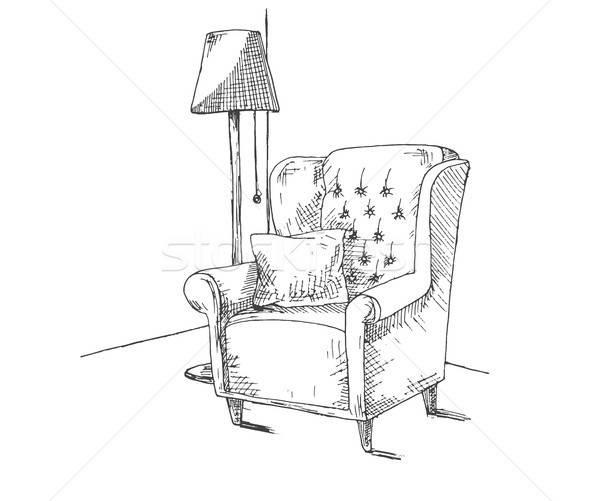 Dessinés à la main soft président oreiller étage lampe Photo stock © Arkadivna