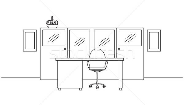 Work desk with an office chair. Office furniture. Interior with a linear style. Vector illustration. Stock photo © Arkadivna