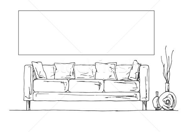 Linear sketch of the interior. Part of the room. Frame on the wall for Fitting Your information. Han Stock photo © Arkadivna