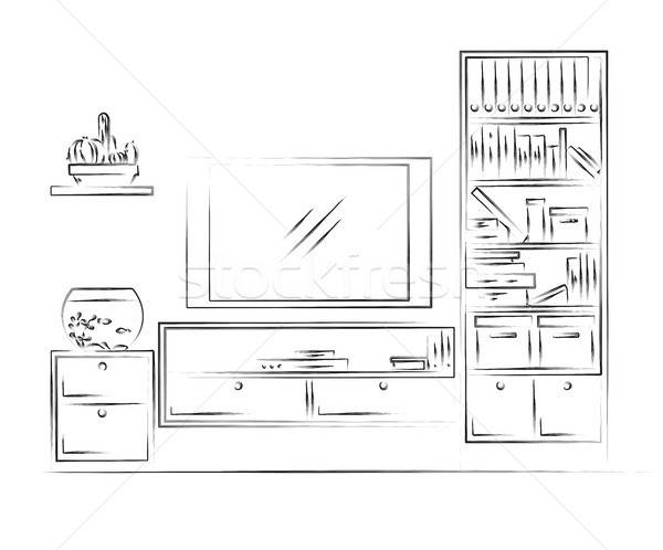 Linear sketch of the interior. Bookcase, dresser with TV and shelves. Stock photo © Arkadivna
