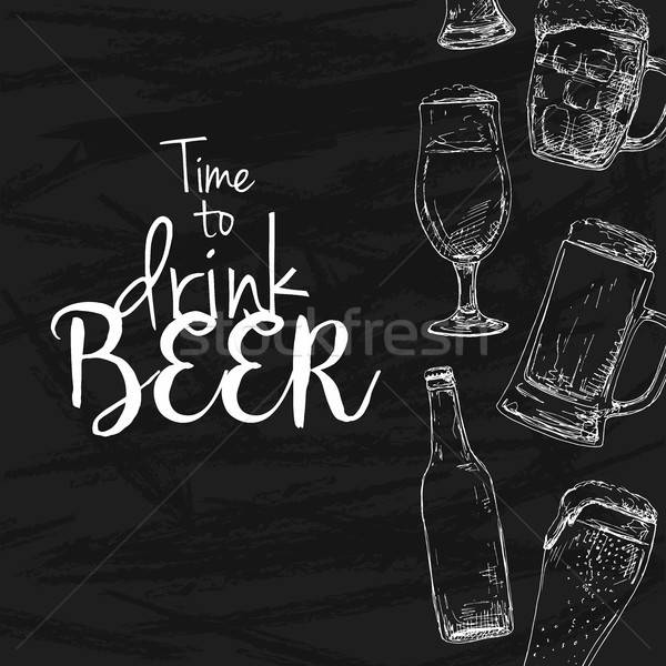 Background with beer. Drawing chalk on a blackboard. Caption: time to drink beer. Place on your text Stock photo © Arkadivna