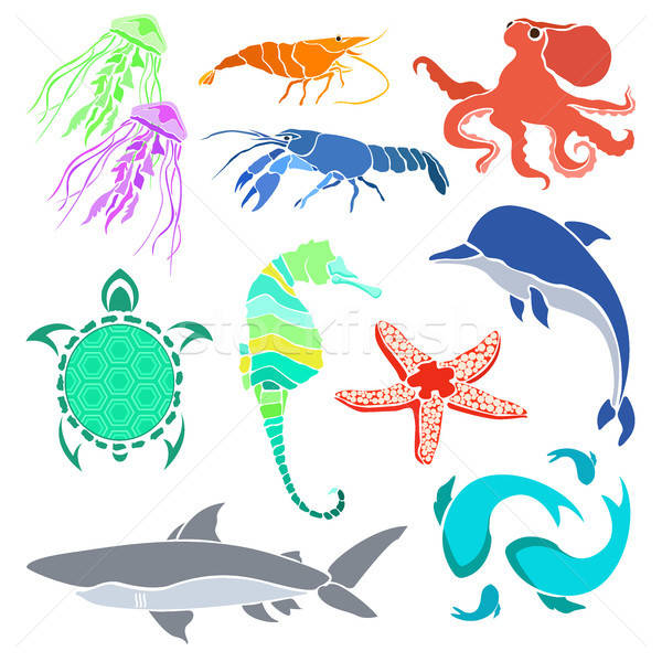 Silhouettes of various sea creatures. Shrimp, cancer, jellyfish, seahorse, fish and other creatures  Stock photo © Arkadivna
