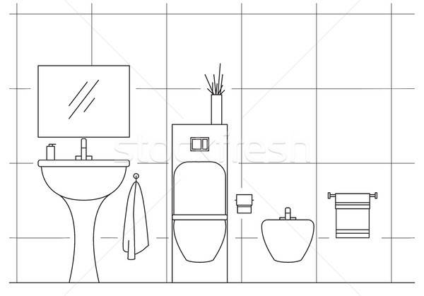 Bathroom. Washbasin, toilet, bidet. Vector illustration in a linear style. Stock photo © Arkadivna