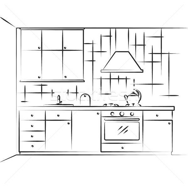 Esboço cozinha mobiliário plano parede projeto Foto stock © Arkadivna