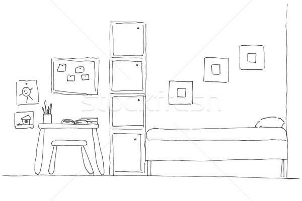 Oda köşe yatak klozet tablo sandalye Stok fotoğraf © Arkadivna