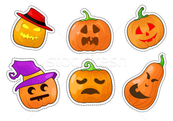 Set of stickers Halloween pumpkin. Vector illustration. Stock photo © Arkadivna