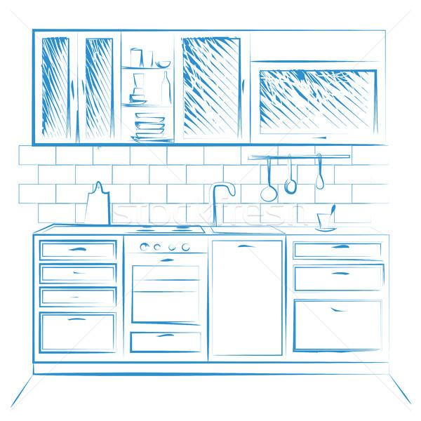 Dessinés à la main cuisine meubles croquis bleu Photo stock © Arkadivna