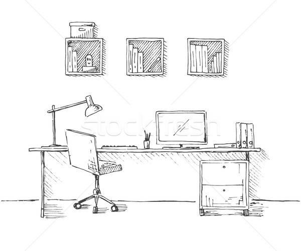 эскиз комнату офисные кресла столе различный объекты Сток-фото © Arkadivna
