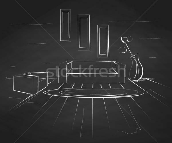 Linear Skizze Innenraum Kreide Tafel Zimmer Stock foto © Arkadivna