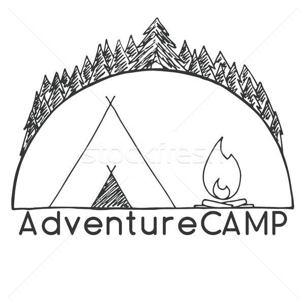 Tent and bonfire against the trees. Emblem, logo camping. Hand drawn vector illustration of a sketch Stock photo © Arkadivna