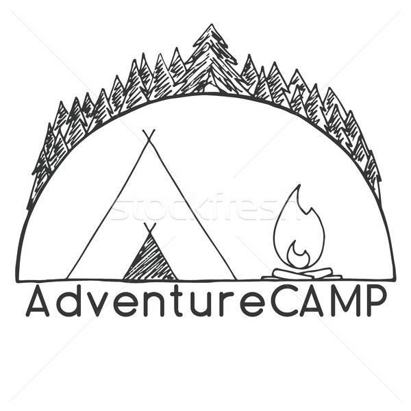 Tent vreugdevuur bomen embleem logo camping Stockfoto © Arkadivna