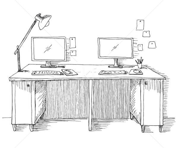 Schets kamer bureau objecten tabel Stockfoto © Arkadivna