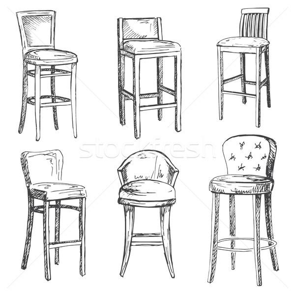 Ayarlamak bar sandalye yalıtılmış beyaz örnek Stok fotoğraf © Arkadivna
