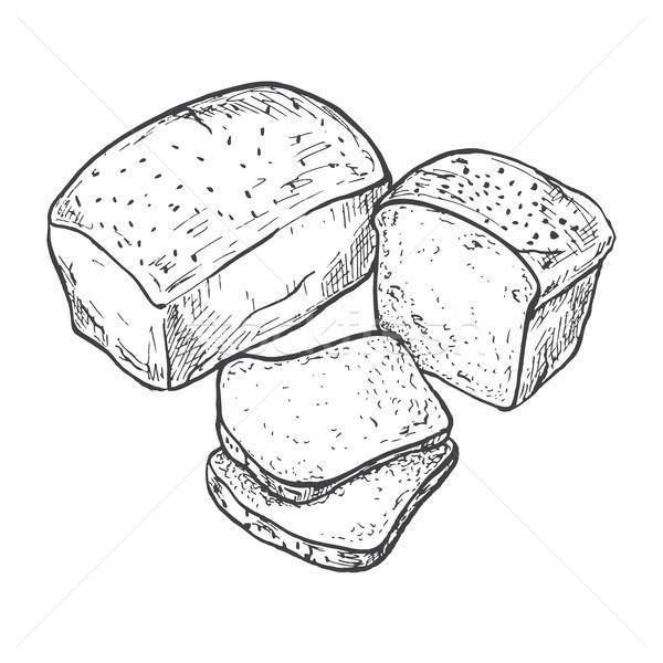 Rectangular loaf of bread. Sliced bread. Vector illustration of a sketch style. Stock photo © Arkadivna
