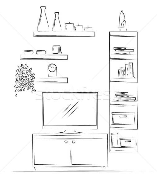 Linear sketch of the interior. Bookcase, dresser with TV and shelves. Vector illustration Stock photo © Arkadivna