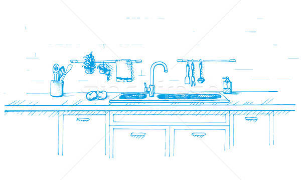 Kitchen worktop with sink. Vector illustration in sketch style. Sketch drawn by a blue pen. Stock photo © Arkadivna