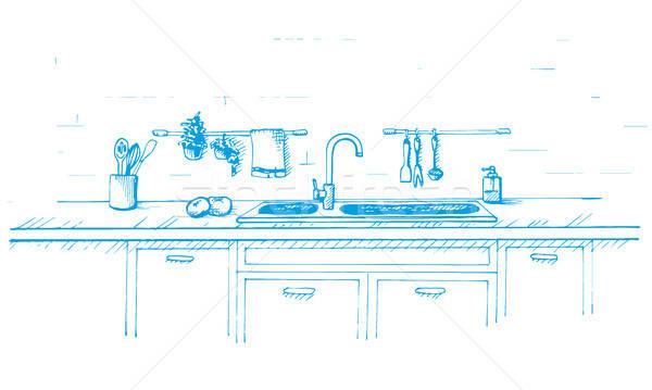 Stock fotó: Konyha · mosdókagyló · rajz · stílus · rajzolt · kék