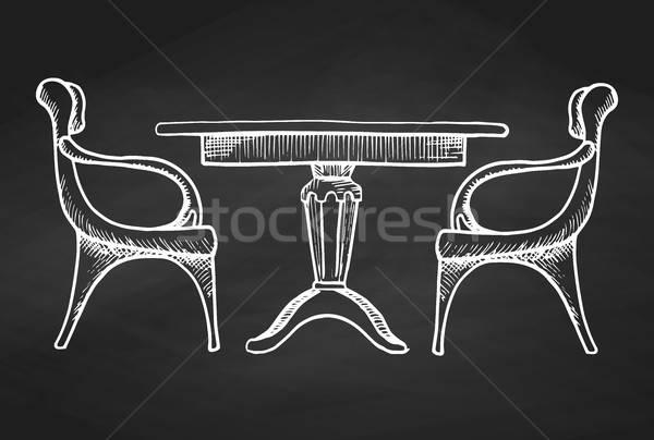 Kettő székek asztal kézzel rajzolt kréta illusztráció Stock fotó © Arkadivna