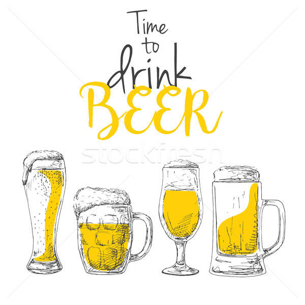 Background with beer. Caption: time to drink beer. Place on your text. Vector illustration of a sket Stock photo © Arkadivna