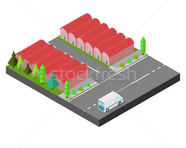 Isométrique maison usine stockage route vert Photo stock © Arkadivna