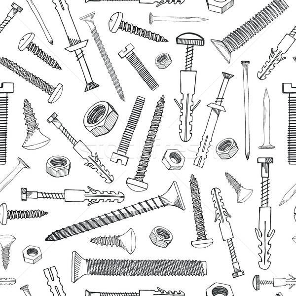 Seamless pattern with different tools. Different fastener on white background. Hand drawn vector ill Stock photo © Arkadivna