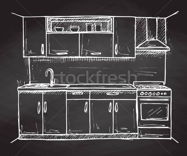 Kézzel rajzolt modern konyha bútor rajz stílus Stock fotó © Arkadivna