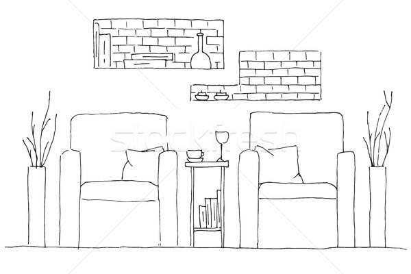 Stock fotó: Kettő · magas · asztal · váza · virágok · kézzel · rajzolt