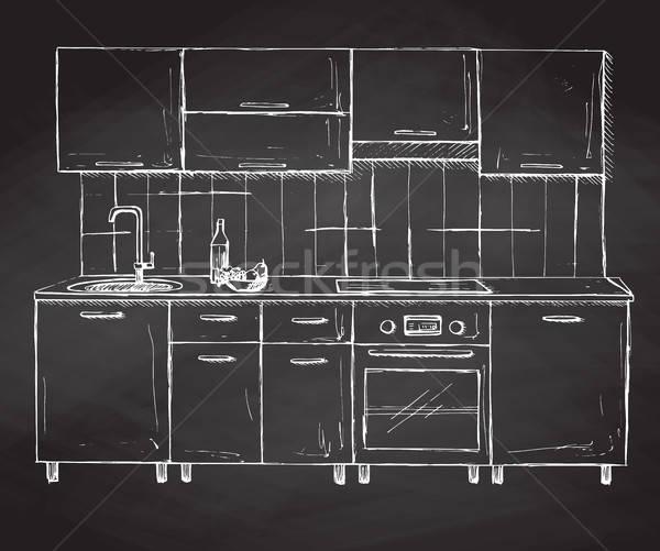 Moderno cozinha mobiliário esboço estilo Foto stock © Arkadivna