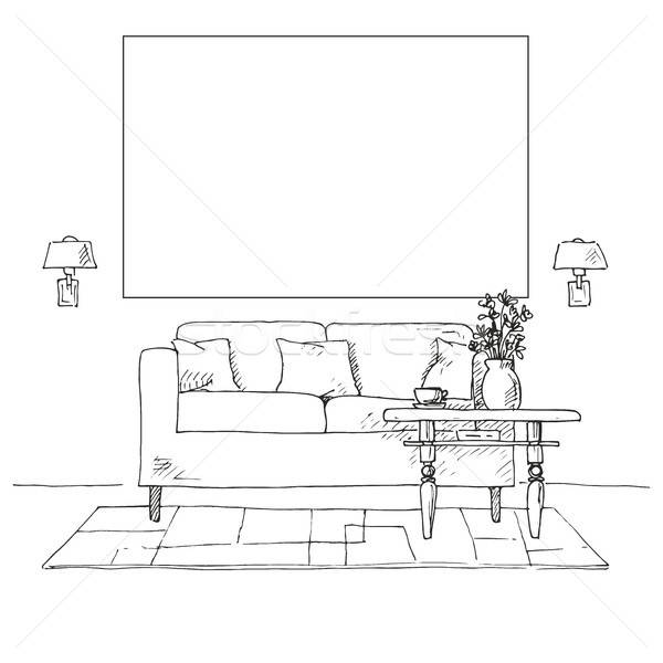 Linear sketch of an interior. Sofa, table, bedside table, lamp, flower. Frame on the wall for Fittin Stock photo © Arkadivna