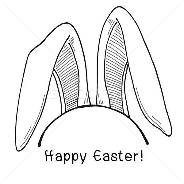Rajz fülek húsvéti nyuszi vektor kellemes húsvétot húsvét Stock fotó © Arkadivna