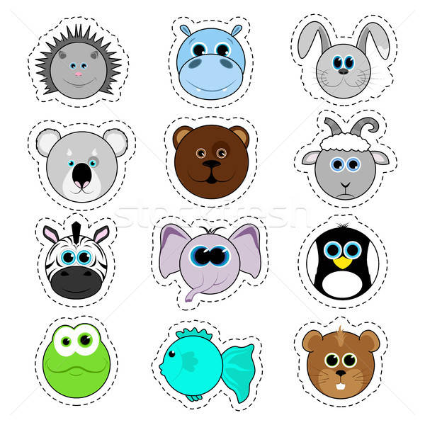 Set of stickers. Set of cute cartoon animals. Hippopotamus, hedgehog, bear, fox, zebra, elephant, pe Stock photo © Arkadivna