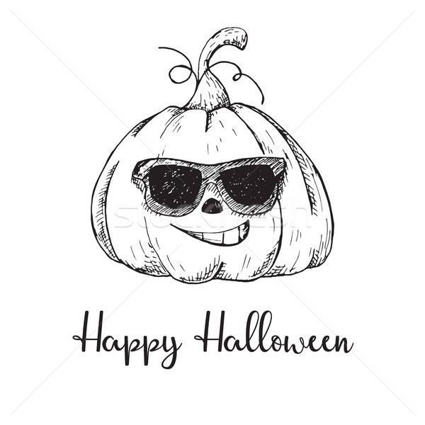 Etiket cadılar bayramı kabak mutlu halloween doku gülümseme Stok fotoğraf © Arkadivna