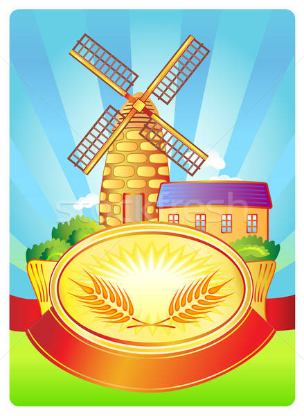 Label with windmill and wheat  Stock photo © arlatis