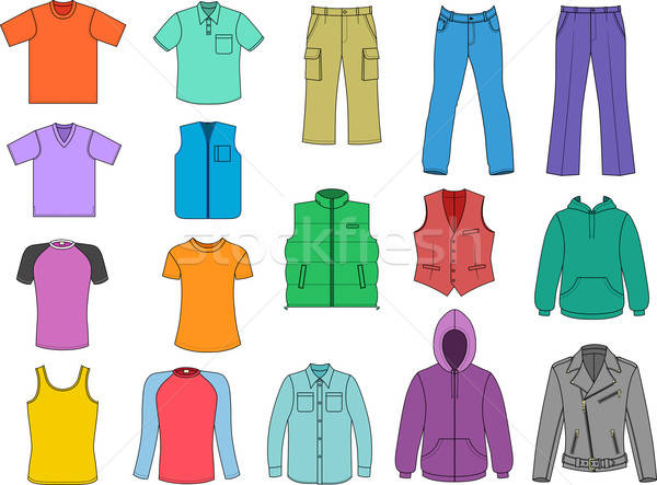 Man clothes colored collection isolalated on white  Stock photo © arlatis