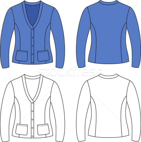 template outline illustration of a blank cardigan with necktie