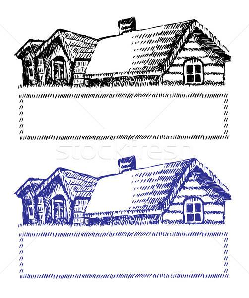 家 にログイン 孤立した 白 青 黒 ストックフォト © arlatis