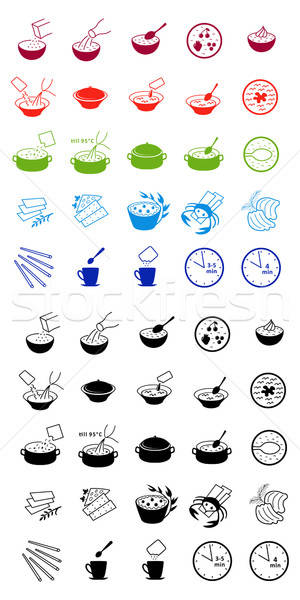 Fast food cooking process icons  Stock photo © arlatis