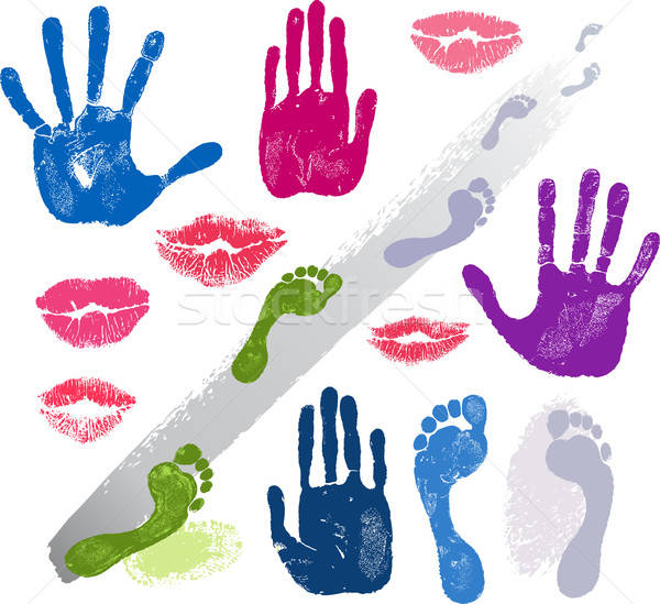 Set hands, lips, foots, footsteps prints  Stock photo © arlatis