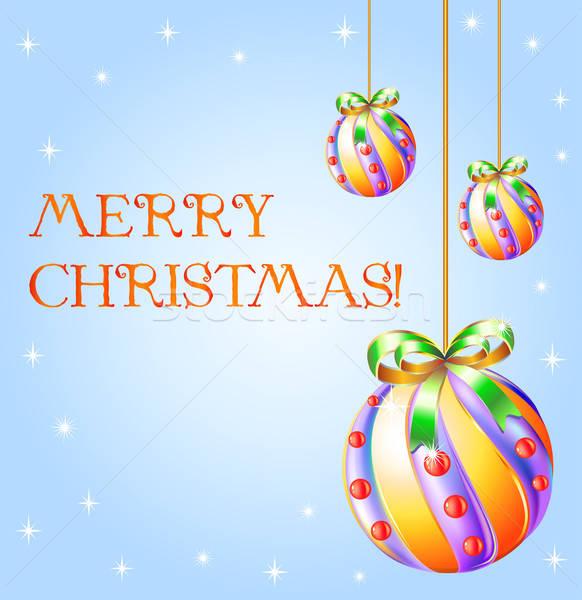 Noel dizayn top beyaz arka kutlama Stok fotoğraf © arlatis