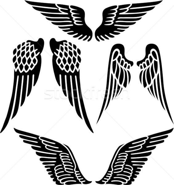 Angyalszárnyak izolált fehér absztrakt madár galamb Stock fotó © arlatis
