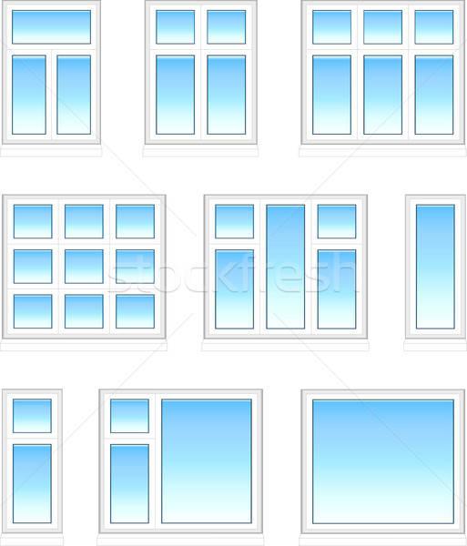 Plastik pencereler renk yalıtılmış beyaz inşaat Stok fotoğraf © arlatis