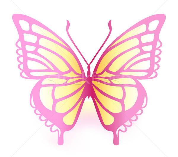 Kolorowy Motyl odizolowany biały wektora charakter Zdjęcia stock © arlatis